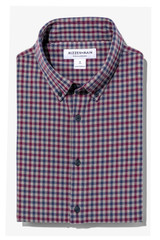 Mizzen+Main City Flannel Charcoal Burgundy Multi Check Shirt