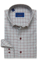 David Donahue Charcoal & Merlot Heathered Check Shirt