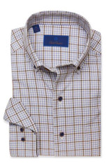 David Donahue Sky & Brown Twill Plaid Shirt