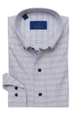 David Donahue White & Gray Tattersall Plaid Shirt