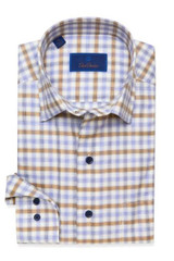 David Donahue Blue & Brown Tonal Check Shirt