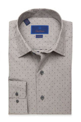 David Donahue Slate Heathered Dobby Fusion Shirt