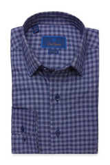 David Donahue Navy Heathered Check Fusion Shirt