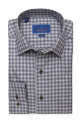 David Donahue Charcoal Heathered Check Fusion Shirt