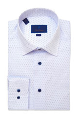 David Donahue Blue Micro Dot Print Dress Shirt