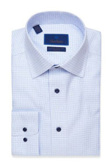 David Donahue White & Blue Micro Tic Non-Iron Dress Shirt