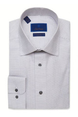 David Donahue White & Gray Micro Neat Non-Iron Dress Shirt