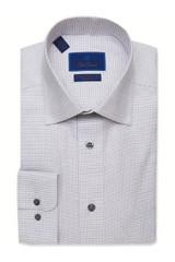 David Donahue White & Gray Micro Neat Non-Iron Dress Shirt
