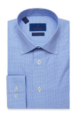 David Donahue Blue Houndstooth Non Iron Dress Shirt