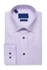 David Donahue White & Lilac Micro Neat Non Iron Dress Shirt