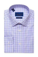 David Donahue Blue-Purple Plaid Non Iron Dress Shirt