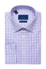 David Donahue Blue-Purple Plaid Non Iron Dress Shirt