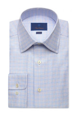 David Donahue Blue Plaid Twill Dress Shirt