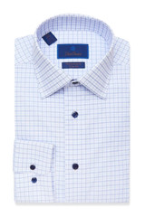 David Donahue White & Blue Check Performance Dress Shirt