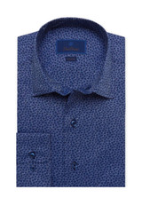 David Donahue Blue Micro Floral Fusion Shirt