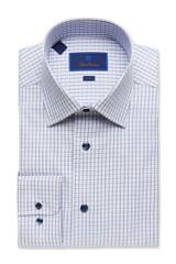 David Donahue Charcoal Check Trim Dress Shirt
