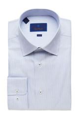David Donahue Fine Blue Stripe Trim Dress Shirt