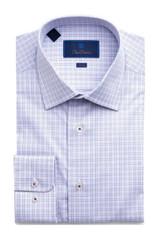 David Donahue Purple Check Trim Dress Shirt