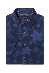 Mizzen+Main Blue Large Floral Print SS Shirt