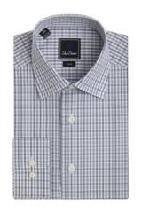 David Donahue Grey Check Trim Dress Shirt