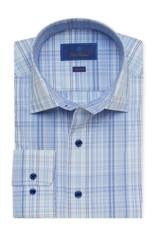 David Donahue Blue Bold Plaid Fusion Shirt