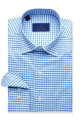 David Donahue Blue Textured Classic Gingham Shirt