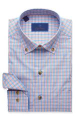 David Donahue Blue & Melon Glen Plaid Shirt