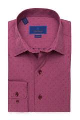 David Donahue Merlot Heathered Dobby Fusion Shirt