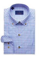 David Donahue Blue & Berry Glen Plaid Shirt