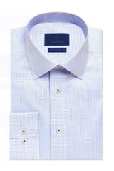 David Donahue Blue Mini Check Non-Iron Dress Shirt