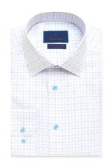 David Donahue White & Blue Check Non-Iron Dress Shirt