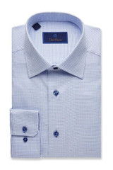 David Donahue Mini Basketweave Regular Dress Shirt