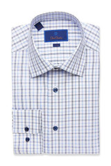 David Donahue Blue Graph Check Trim Dress Shirt