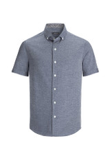 Bugatchi Solid Heather Knit Short Sleeve Shirt
