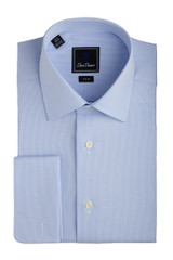 David Donahue Micro Chevron Sky Blue Trim Dress Shirt