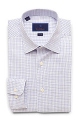 David Donahue Basket Weave Open Check Trim Dress Shirt