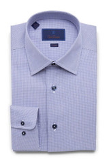 David Donahue Micro Textured Tic Weave Trim Dress Shirt