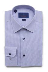 David Donahue Micro Textured Tic Weave Trim Dress Shirt