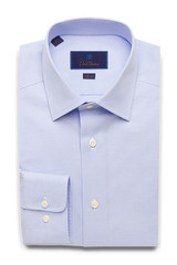 David Donahue Sky Micro Dobby Weave Slim Dress Shirt