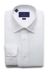 David Donahue White Super Fine Twill Slim Dress Shirt