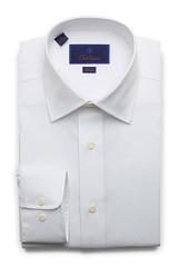 David Donahue White Super Fine Twill Slim Dress Shirt
