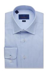 David Donahue Mini Check Trim Dress Shirt