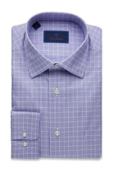 David Donahue Classic Glen Plaid Trim Dress Shirt