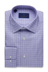 David Donahue Classic Glen Plaid Trim Dress Shirt