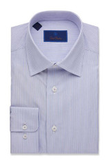 David Donahue Poplin Framed Stripe Trim Dress Shirt