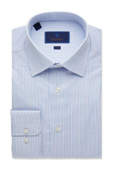 David Donahue White Ground Textured Check Trim Dress Shirt