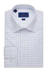David Donahue White Window Check Trim Dress Shirt