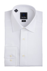 David Donahue White Royal Oxford Trim Dress Shirt