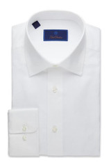David Donahue White Royal Oxford Regular Dress Shirt
