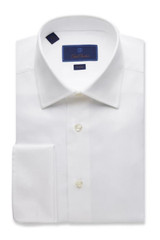 David Donahue Micro Birdseye French Cuff Trim Dress Shirt